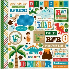 Cartela de Adesivos 30x30 Echo Park - Dino Friends