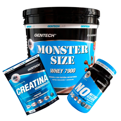 Combo Masa Whey Monster + Creatina 500gr + Nitric Oxide Gentech