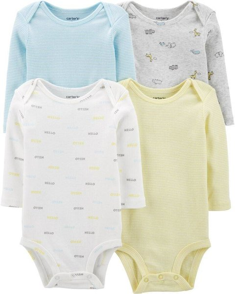 Kit com 4 bodies da Carter's (Manga longa) Hello Baby - Carter's