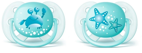Chupeta Ultra Soft Decorada (0-6 Meses) Dupla, Philips Avent, Azul