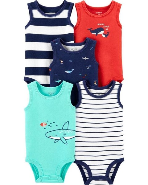 Kit com 5 bodies Regata da Carter's - Shark