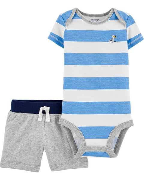 Kit com 2 peças - Striped Bodysuit Short