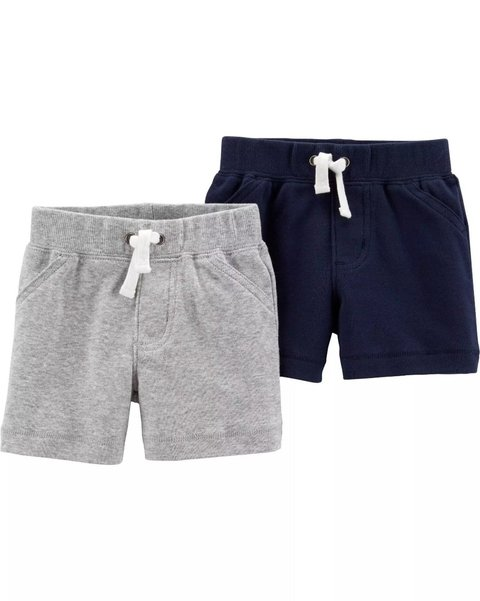 Kit com 2 Shorts BabyBoy (Gray and Navy Blue) - Carter's