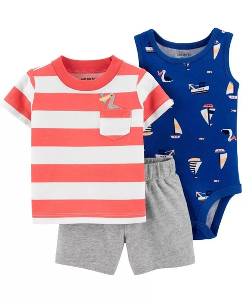 Kit com 3 peças - Beach Little Short - Carter's