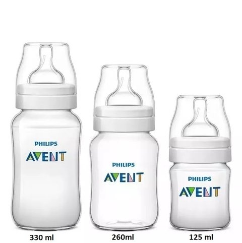 Kit 3 Mamadeiras Classic Anticólica 125/260/330ml - Philips AVENT