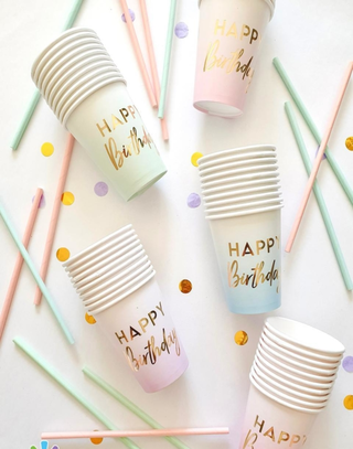 10 Vasos polipapel happy birthday
