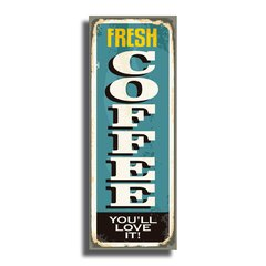 PLACA FRESH COFFEE 40x15 cm - comprar online