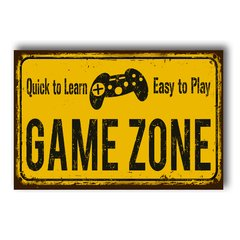 PLACA GAME ZONE