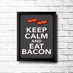 PLACA KEEP CALM AND EAT BACON - comprar online