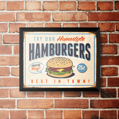 PLACA HAMBURGERS na internet