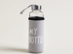 BOTELLA DE VIDRIO CON TAPA DE ACERO MY BOTTLE FUNDA GRIS 400ML