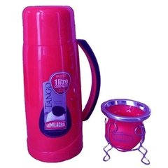 Set Termo Lumilagro Tango Compacto 1lt + Mate Vidrio Color en internet