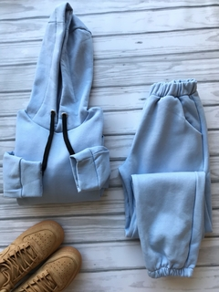 Set baby blue frizado