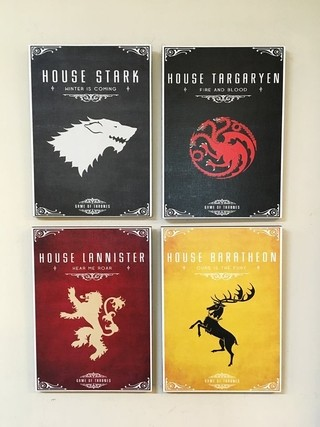 Combo 4 cuadros Casas Game of Thrones en internet