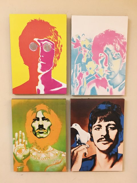 Combo 4 cuadros The Beatles colores