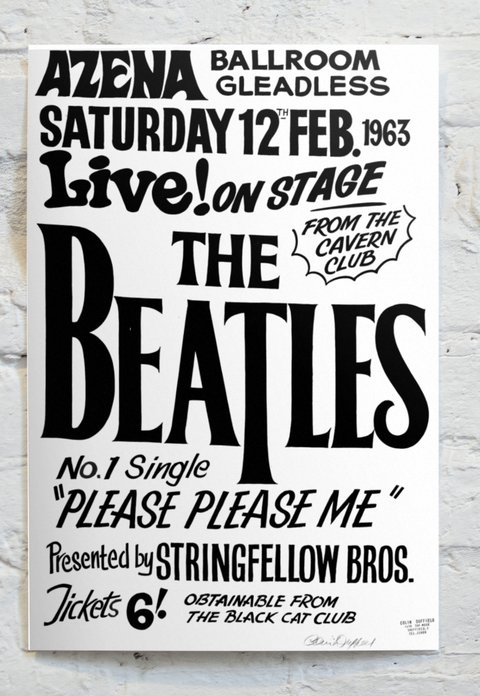 Cuadro The Beatles Poster Blanco y Negro CA15