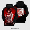 Moletom Mikasa Ackerman Attack On Titan Estampa Total Frente e Costas - comprar online