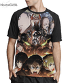 Camisa Raglan Attack on Titan Estampa Total Frente