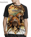 Camisa Raglan Attack on Titan Estampa Total Frente MOD.2