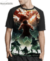 Camisa Raglan Attack on Titan Estampa Total Frente MOD.5