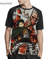 Camisa Raglan Levi Ackerman Attack on Titan Estampa Total Frente