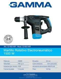 Rotomartillo Sds Plus 32 Mm 1500 W 7,5 Joules Gamma G1951AR - comprar online