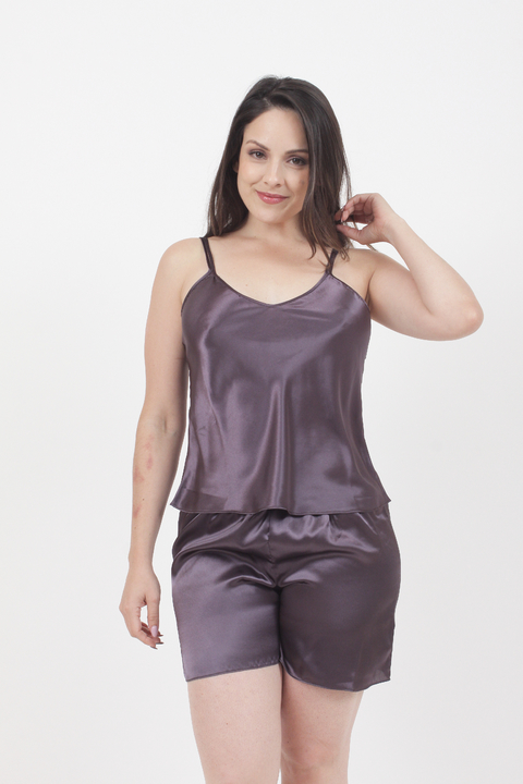 Pijama de Saten Chocolate - 72913/4