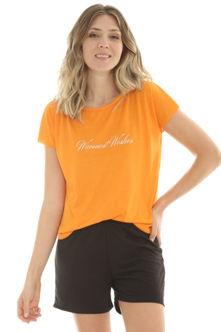 Remera Mix Viscosa Naranja - 88013/4
