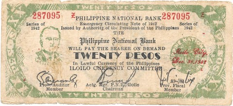 BILLETE DE FILIPINAS , 20 PESOS , AÑO 1942