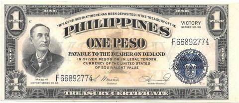 BILLETE DE FILIPINAS , 1 PESO , AÑO 1944