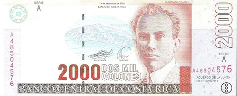 Billete de Costa Rica 2.000 colones - 2005
