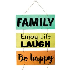 PLACA BE HAPPY C/ CORDA 70x40 cm