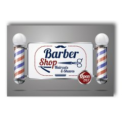 PLACA BARBER SHOP OPEN - comprar online