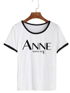 Remera Dama Ringer Anne with an E Logo