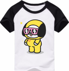 Remera Unisex Ranglan BT21 Chimmy Lentes