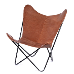 BUTTERFLY CHAIR · A S S A M B L E · BROWN LEATHER