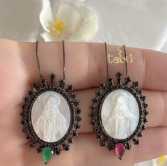 CADENA VIRGEN MILAGROSA BLACK RUBY o EMERALD