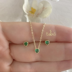 CONJUNTO HEART EMERALD GOLD