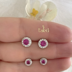 ARETES CIRCLE RUBY SILVER