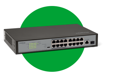 SWITCH 16 PORTAS FAST 1 PORTA GIGABIT 1 SFP SF 1811 POE
