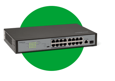 SWITCH INTELBRAS 16 PORTAS FAST 1 PORTA GIGABIT 1 SFP SF1811POE