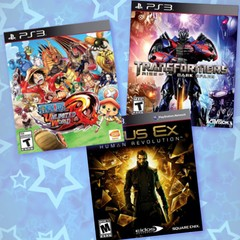 COMBO PACK PS3 - ONE PIECE: UNLIMITED WORLD RED + TRANSFORMERS: RISE OF THE DARK SPARK + DEUS EX: HUMAN REVOLUTION