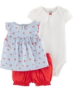 Set 3 piezas Body, Remera y Short Floral Carter's 1h355510 suc gaona