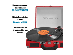 Tocadiscos Winco W406 MP3/USB/SD Con Valija Color - comprar online