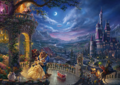 (1206) Beauty and the Beast Dancing in the Moonlight; Kinkade - 1000 peças
