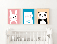 SET DE 3 CUADROS ANIMALITOS FULL COLOR - comprar online