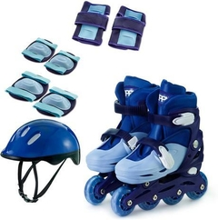 KIT PATINS IN LINE AJUST 34 A 37 - AZUL - ZIPPY TOYS