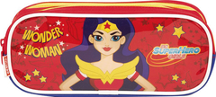 ESTOJO- 02 COMPARTIMENTOS - SUPER HERO GIRLS - 22CM - WONDERWOMAN - SESTINI