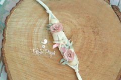 HeadBand - Floral mod. 002 Lembranças do Mar - Creme - Photo Props