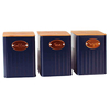 "KIT DE 3 POTES PORTA CONDIMENTO AZUL ""COFFEE, TEA, SUGAR"""